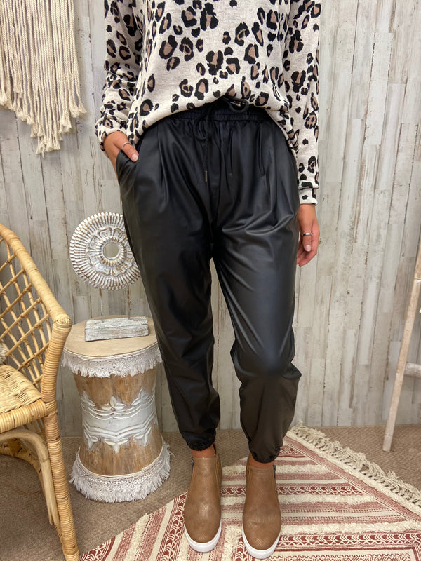 Chic Basics Black Faux Leather Joggers-Shop-Womens-Boutique-Clothing