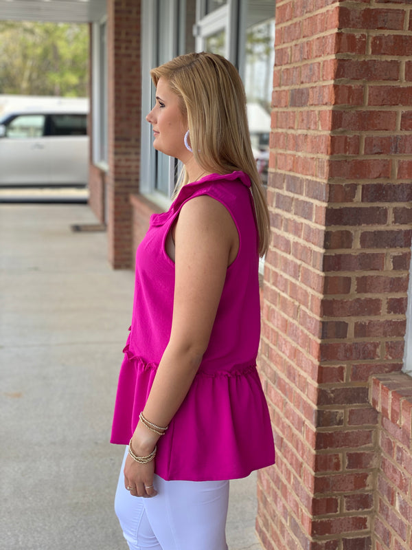 Living Proof Fuchsia Sleeveless Peplum Top-Shop-Womens-Boutique-Clothing