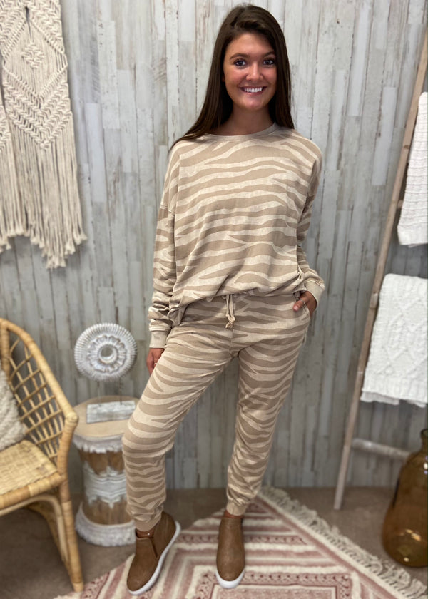 Luxe Lounging Mocha Zebra Sweatshirt-Shop-Womens-Boutique-Clothing