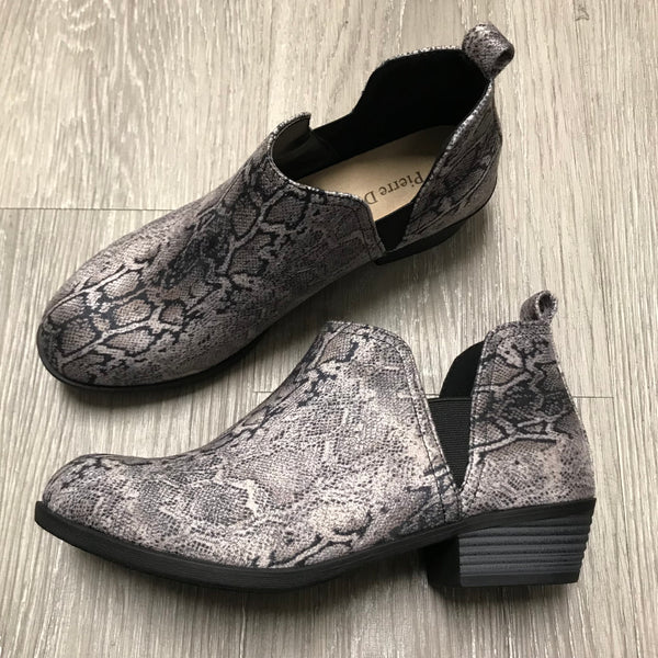 Brooke Snakeprint Slip-On Booties-Shop-Womens-Boutique-Clothing