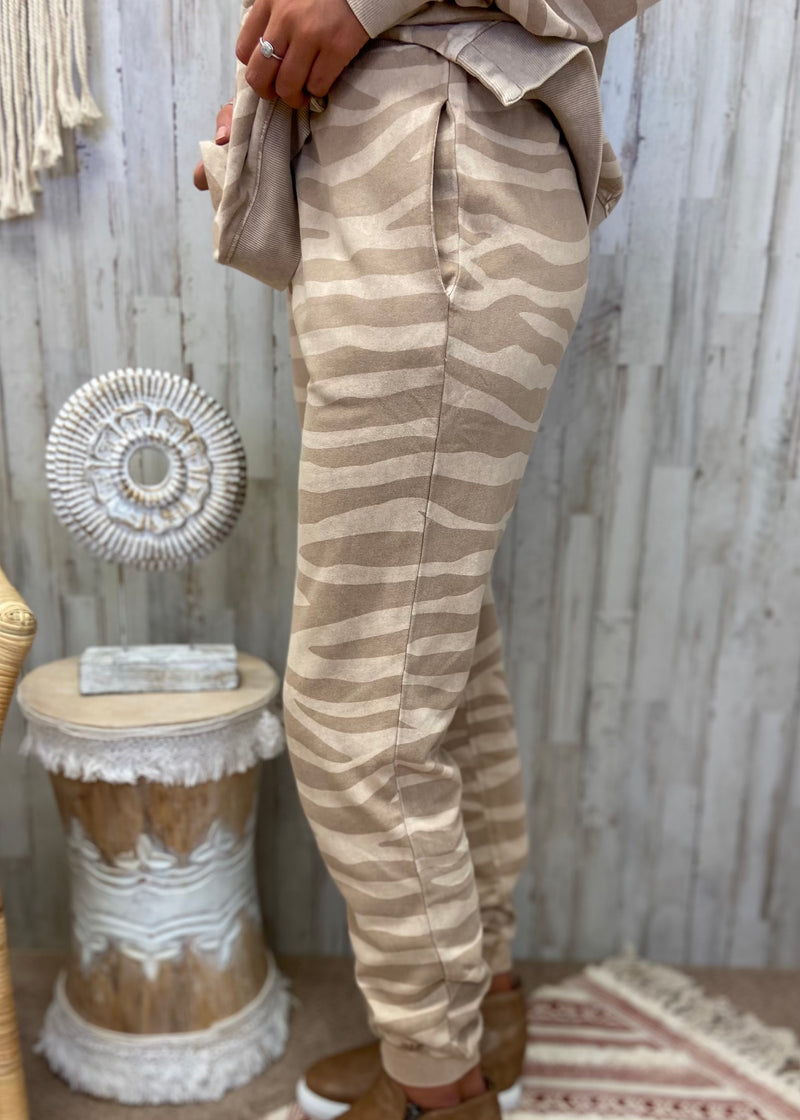 Luxe Lounging Mocha Zebra Joggers-Shop-Womens-Boutique-Clothing