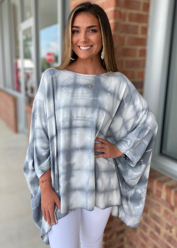 Perfect Impression Grey Tie Dye Top-Shop-Womens-Boutique-Clothing