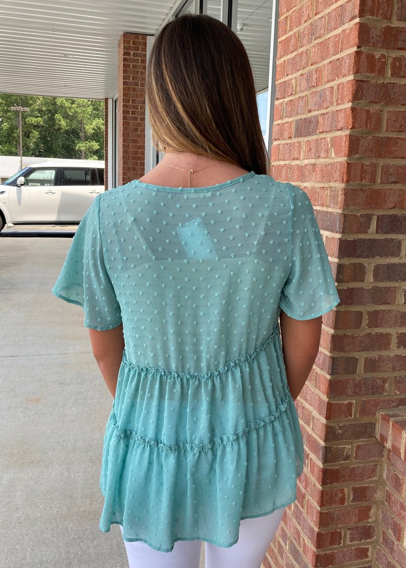 Everlasting Fairytale Sage Dotted Top-Shop-Womens-Boutique-Clothing