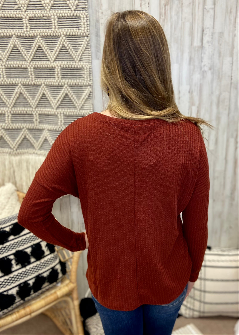 Fall Favorite Brick Front Twist Top-Shop-Womens-Boutique-Clothing