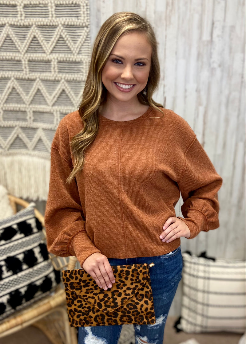 Warm Sunset Camel Balloon Sleeve Top-Shop-Womens-Boutique-Clothing