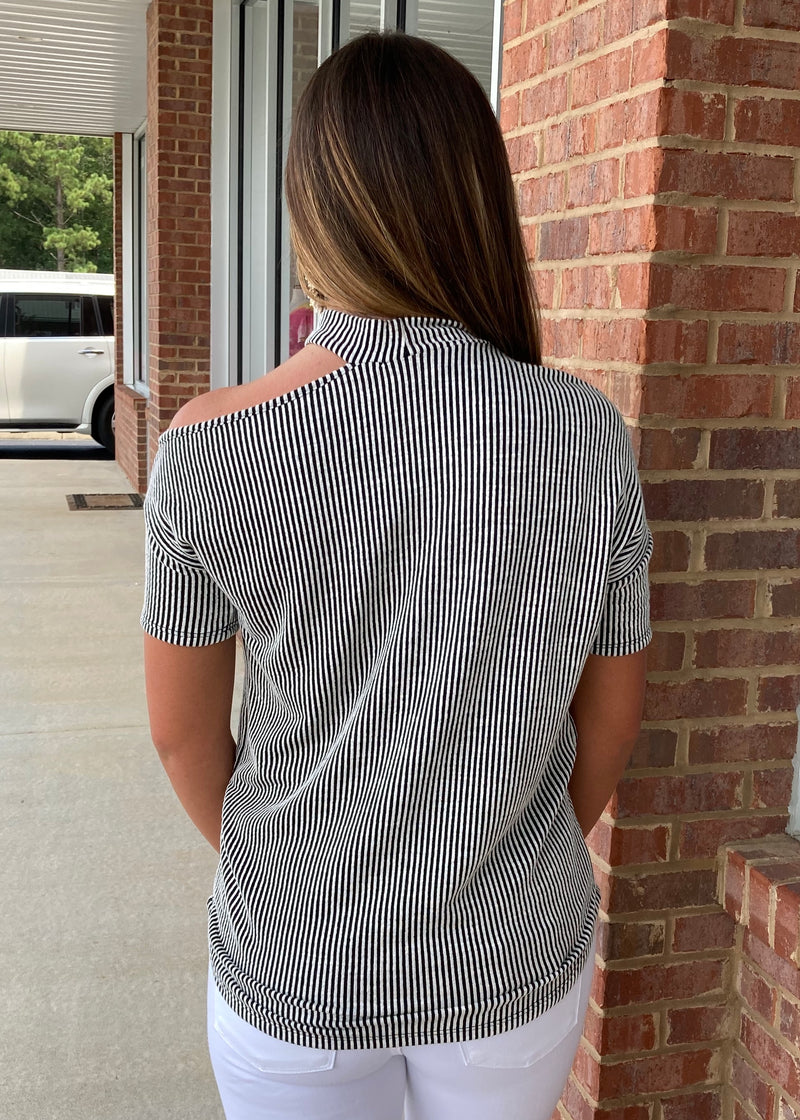 Feelin' Edgy Striped One Shoulder Top-Shop-Womens-Boutique-Clothing