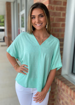 Dreaming Big Mint V-Neck Top-Shop-Womens-Boutique-Clothing
