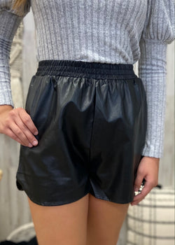 Set The Trend Black Leather Shorts-Shop-Womens-Boutique-Clothing