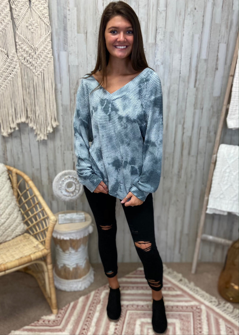 Daily Love Charcoal Tie Dye Top-Shop-Womens-Boutique-Clothing