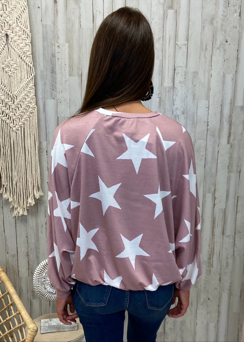 Love Sparks Mauve Star Sweatshirt-Shop-Womens-Boutique-Clothing