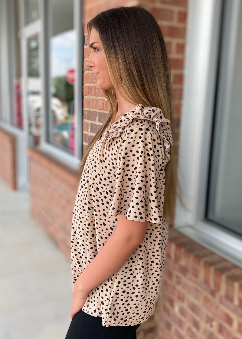 Make It A Date Night Taupe Spotted Top-Shop-Womens-Boutique-Clothing