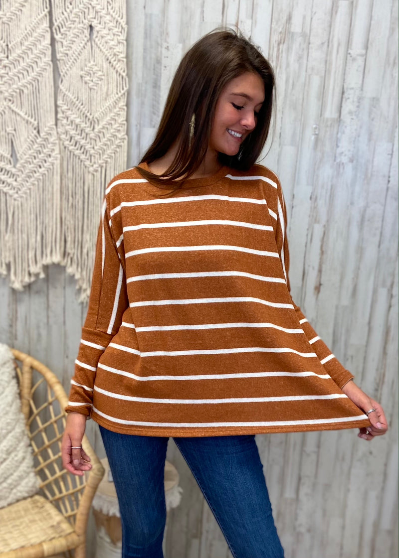 Pumpkin Weather Rust Stripe Top-Shop-Womens-Boutique-Clothing