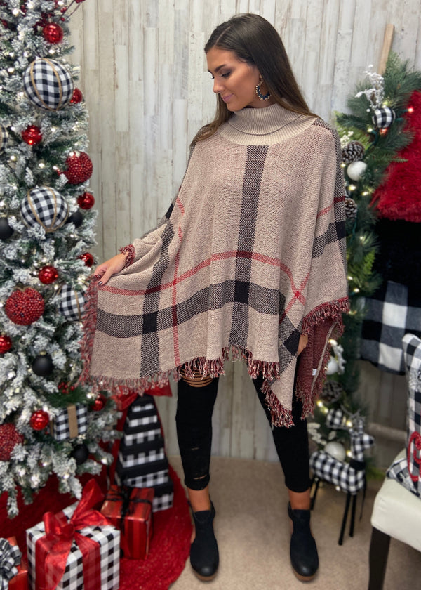 Lovely Weather Taupe Plaid Sweater-Shop-Womens-Boutique-Clothing