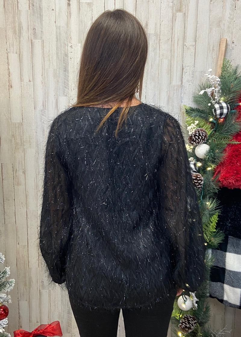 Behind The Scenes Black Tinsel Fringe Top-Shop-Womens-Boutique-Clothing