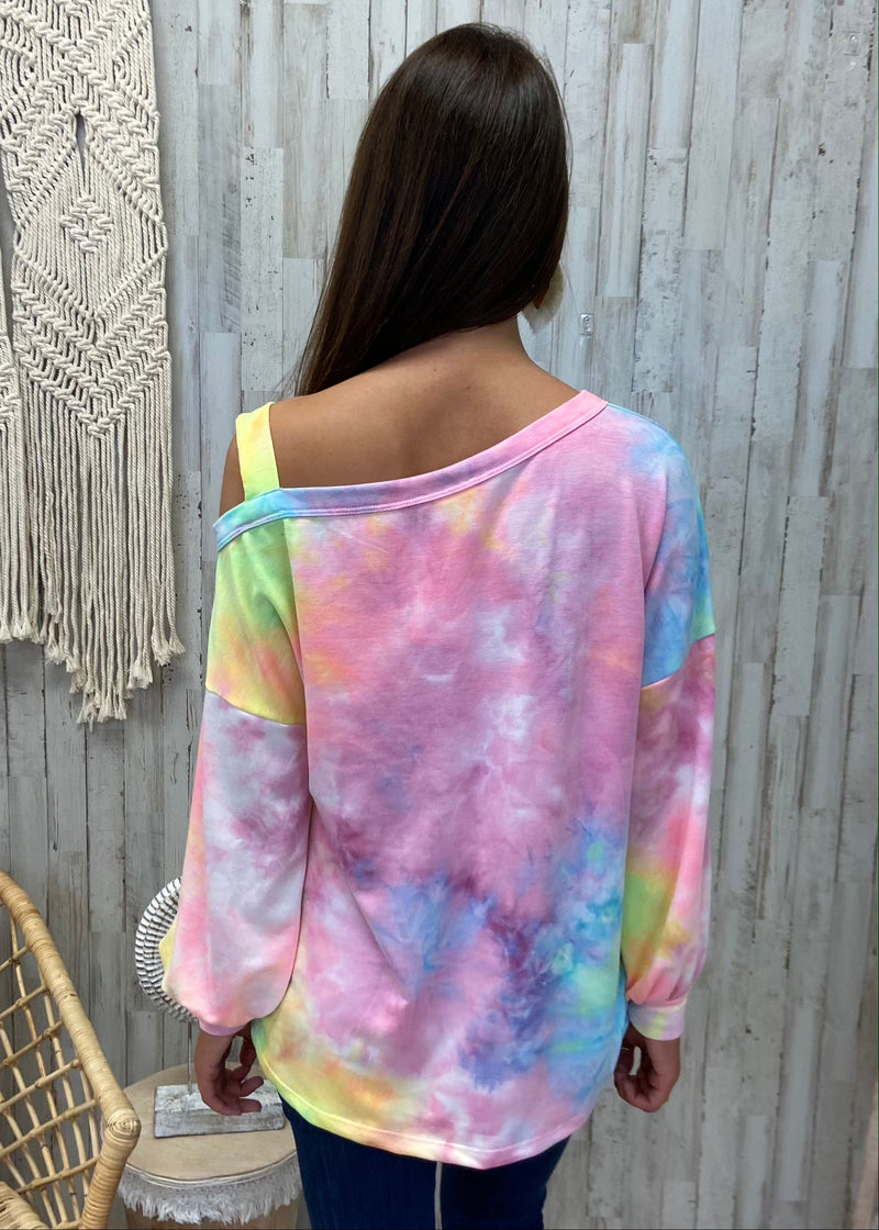 Maybe Later Rainbow Tie Dye Top-Shop-Womens-Boutique-Clothing