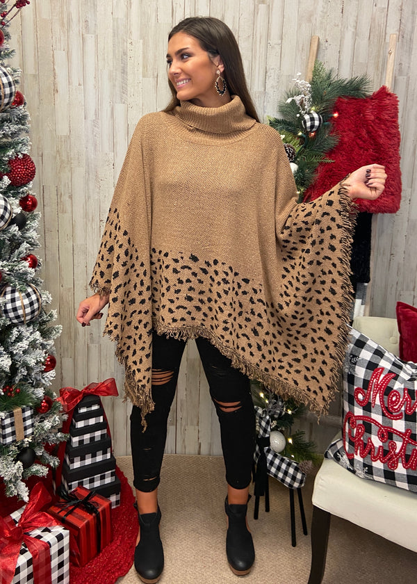 Caught Your Gaze Camel Leopard Poncho-Shop-Womens-Boutique-Clothing