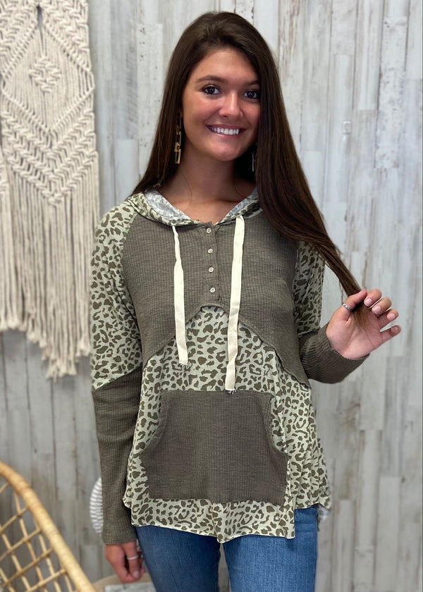 Secret Path Olive Leopard Hoodie-Shop-Womens-Boutique-Clothing