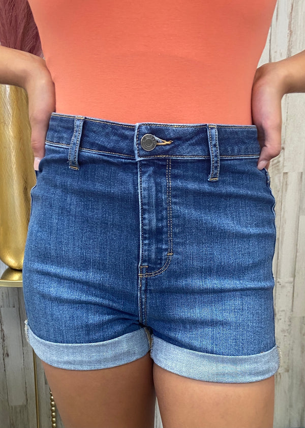 Call It Intuition Denim Rolled Shorts-Shop-Womens-Boutique-Clothing