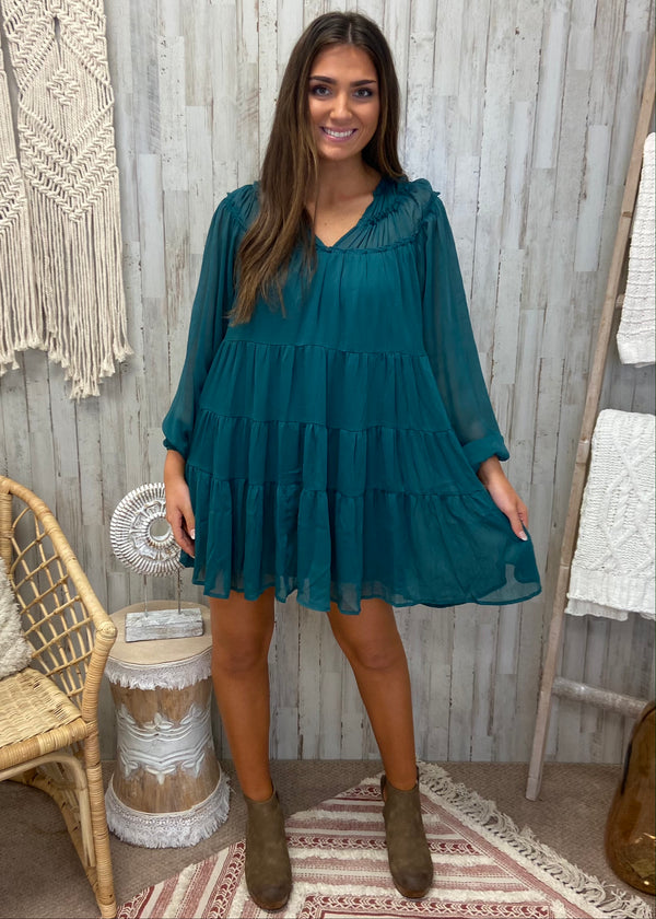 Mysterious Ideas Green Ruffle Dress-Shop-Womens-Boutique-Clothing