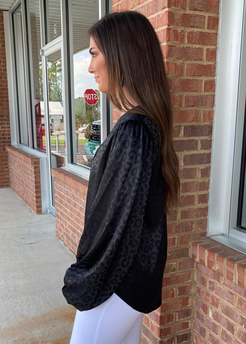 Swept Away Black Satin Leopard Top-Shop-Womens-Boutique-Clothing