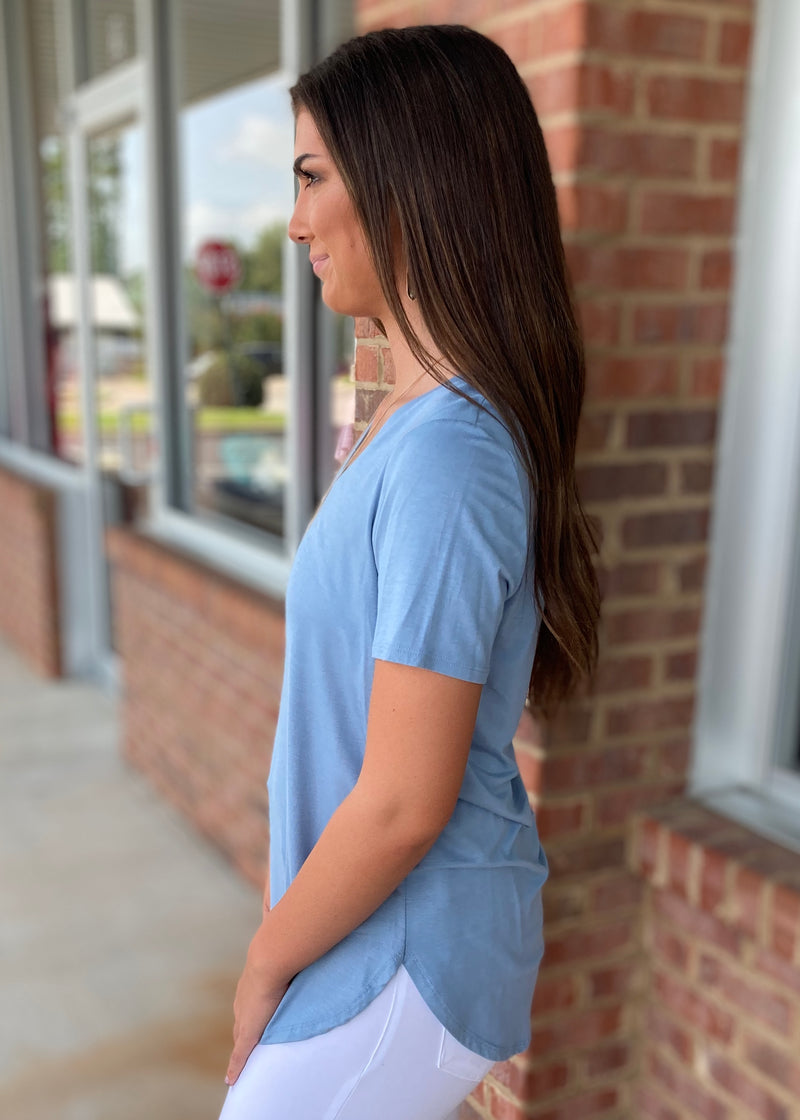 Can't Get Enough Steel Blue Vneck Top-Shop-Womens-Boutique-Clothing