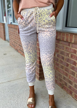 Let's Unwind Gray Leopard Joggers-Shop-Womens-Boutique-Clothing