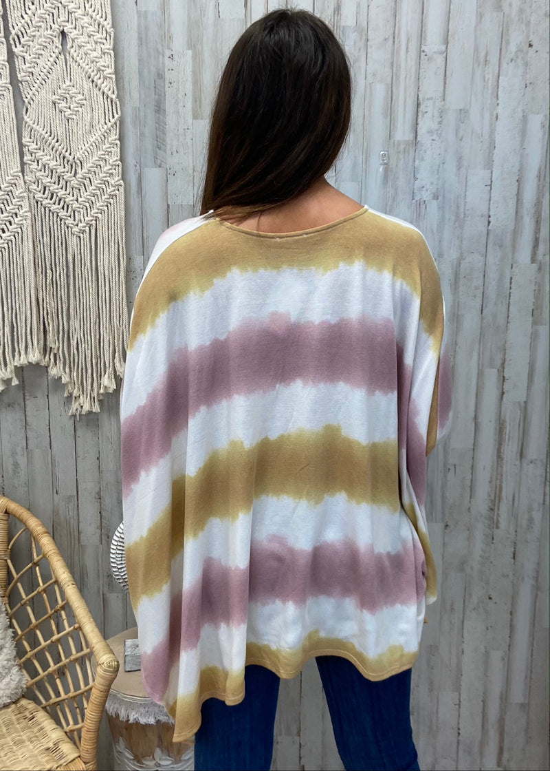 Fire Lights Stripe Tie Dye Poncho-Shop-Womens-Boutique-Clothing