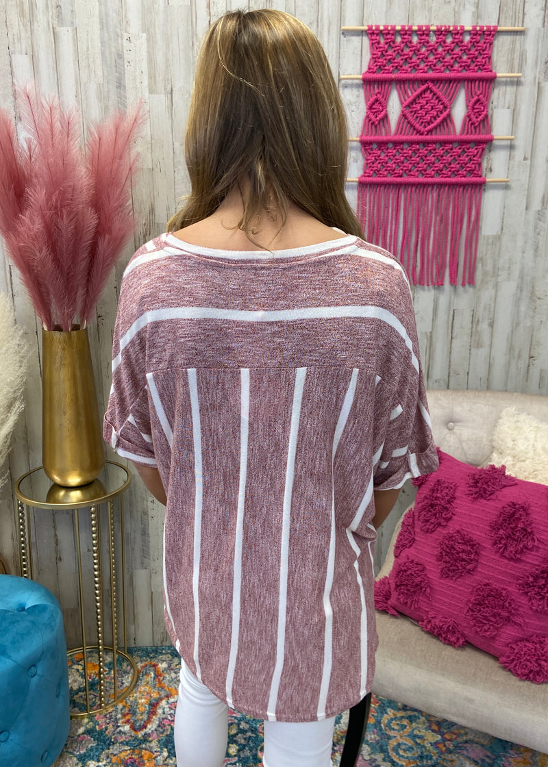 Turning Point Red Striped Top-Shop-Womens-Boutique-Clothing