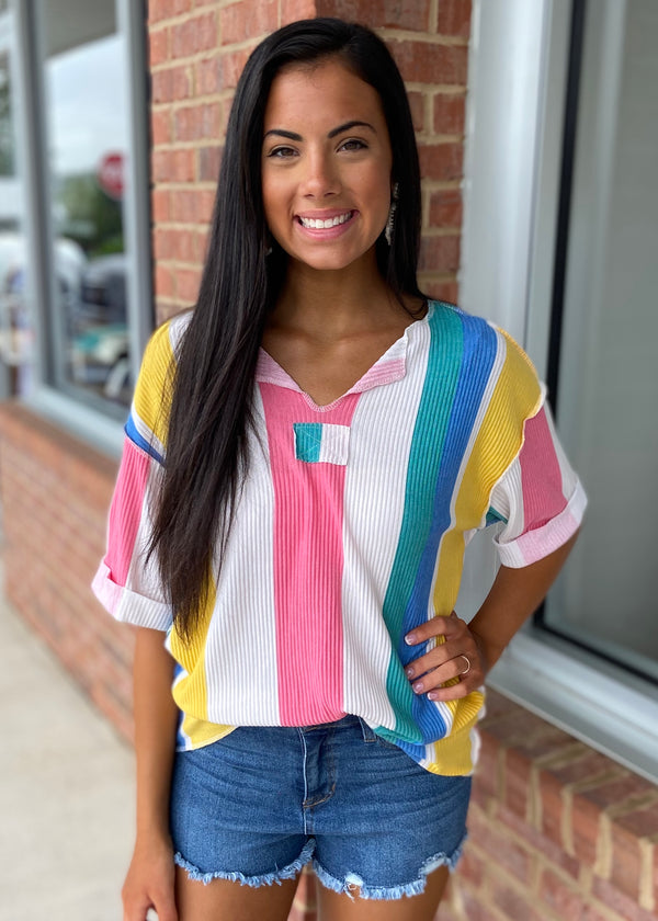 Outer Banks Multicolor Striped Top-Shop-Womens-Boutique-Clothing