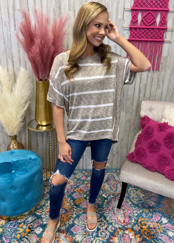 Turning Point Taupe Striped Top-Shop-Womens-Boutique-Clothing