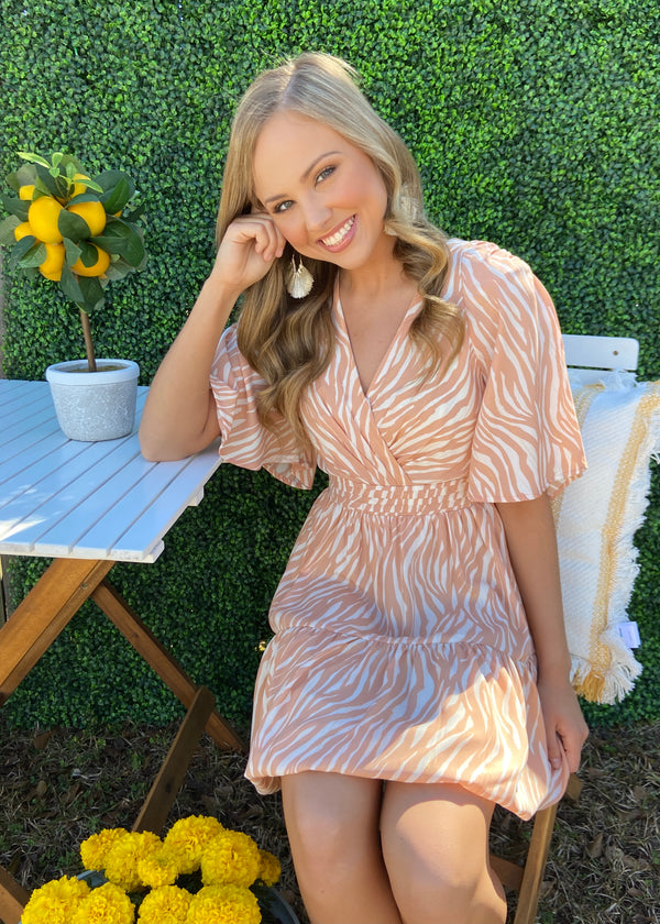 Mesmerized Stare Peach Zebra Dress-Shop-Womens-Boutique-Clothing
