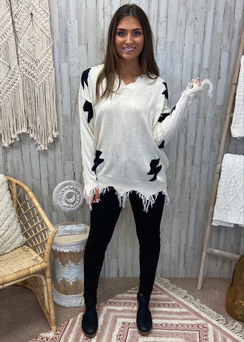 Lightning Strikes Cream Distressed Sweater-Shop-Womens-Boutique-Clothing