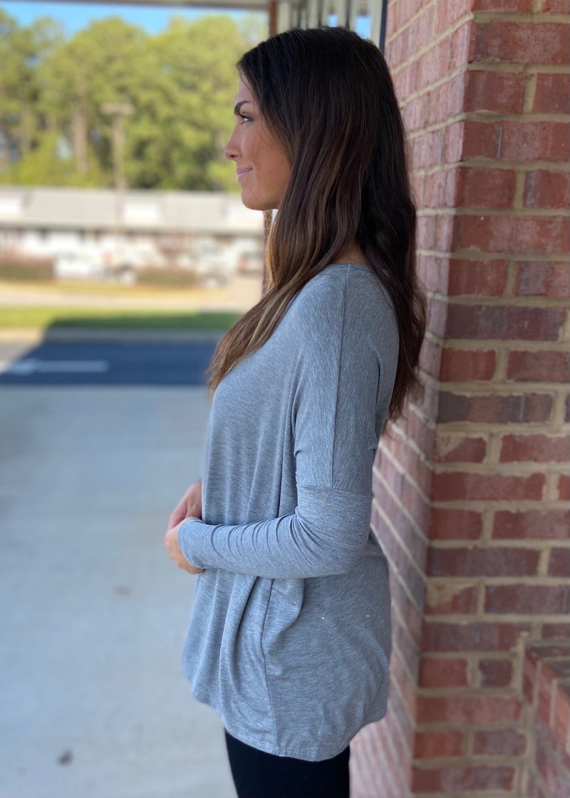 Center Of Attention Heather Grey Top-Shop-Womens-Boutique-Clothing