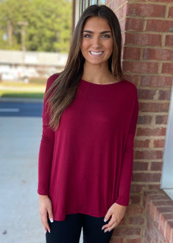 Center Of Attention Burgundy Top-Shop-Womens-Boutique-Clothing