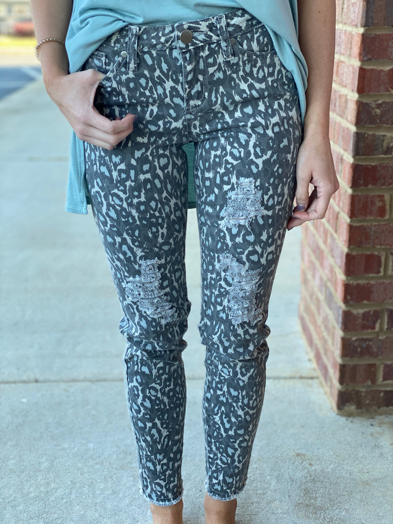 Next To You Grey Animal Print Ankle Cut-Shop-Womens-Boutique-Clothing