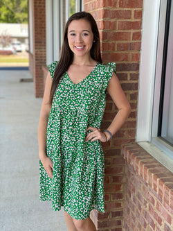 Got A Plan Green Floral Tiered Dress-Shop-Womens-Boutique-Clothing