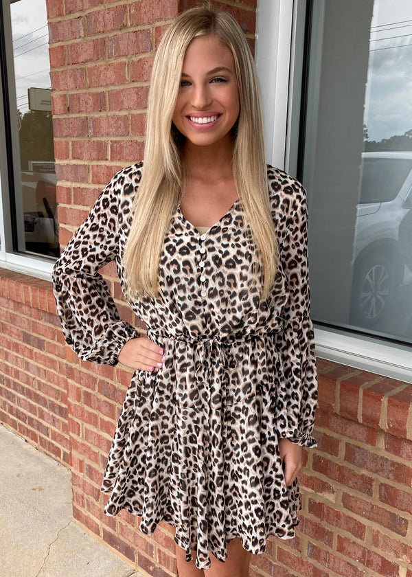 On My Way To You Taupe Leopard Dress-Shop-Womens-Boutique-Clothing