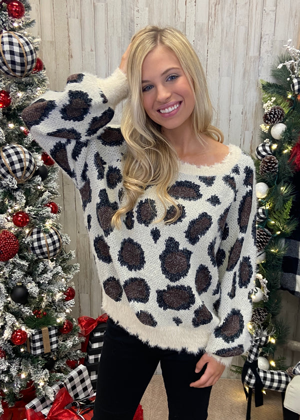 Spotted The Perfect Look Cream Leopard Sweater-Shop-Womens-Boutique-Clothing