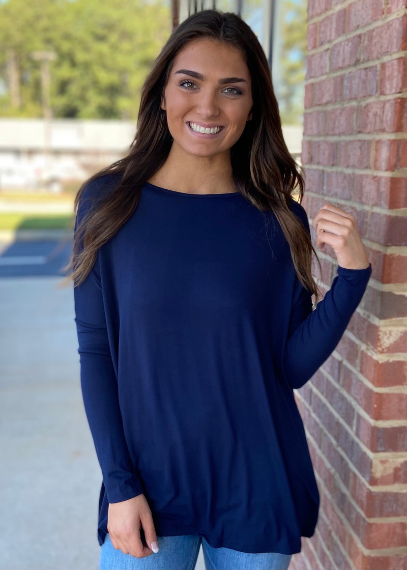 Center Of Attention Navy Top-Shop-Womens-Boutique-Clothing
