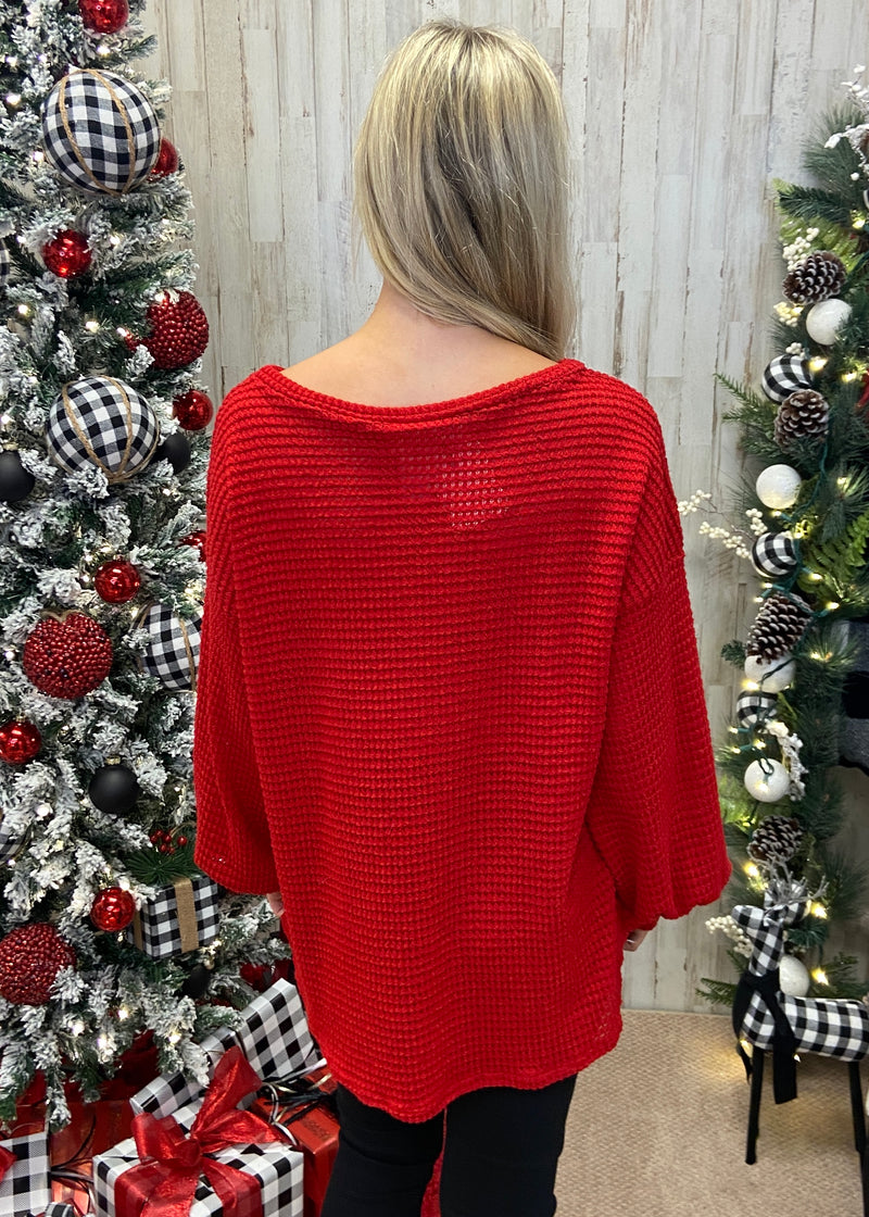 Joyful Together Red Waffle Top-Shop-Womens-Boutique-Clothing