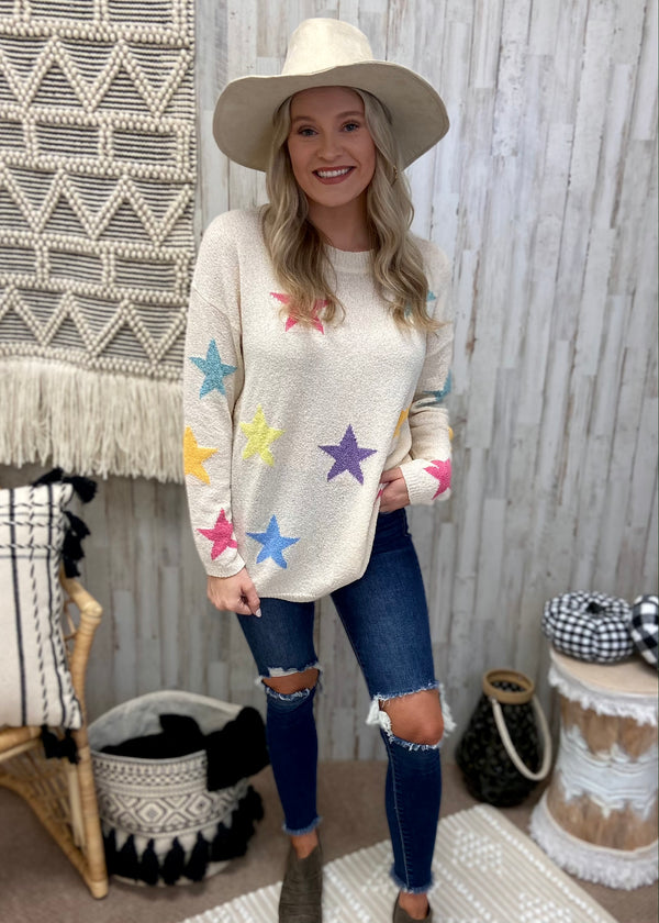 Soul Saver Ivory Star Sweater-Shop-Womens-Boutique-Clothing