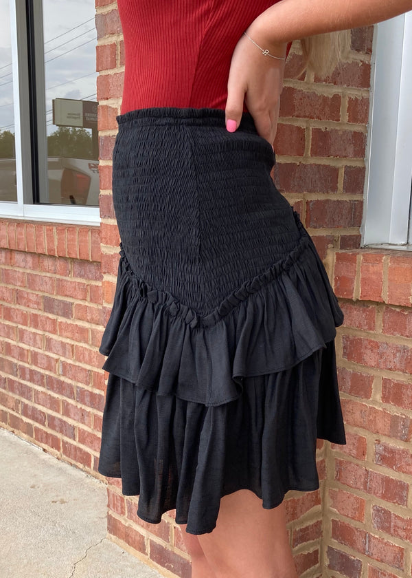 So Sincere Black Smocked Skirt-Shop-Womens-Boutique-Clothing
