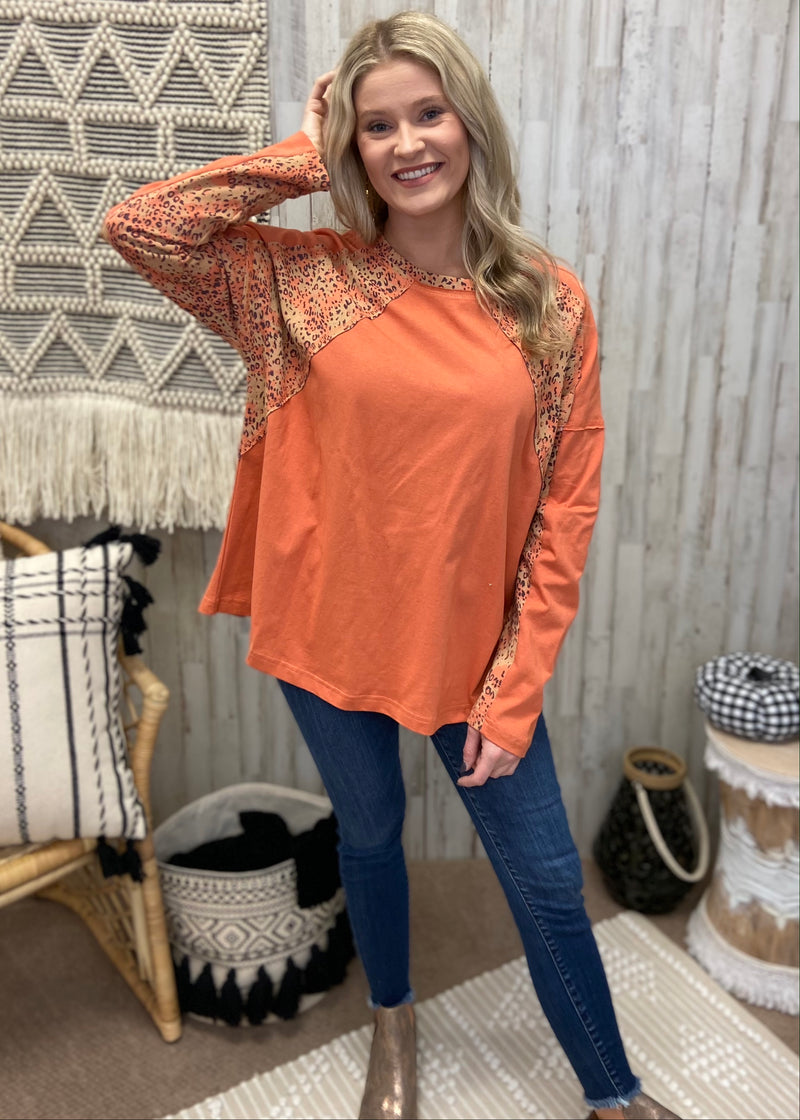 Daring Moves Coral Animal Print Top-Shop-Womens-Boutique-Clothing