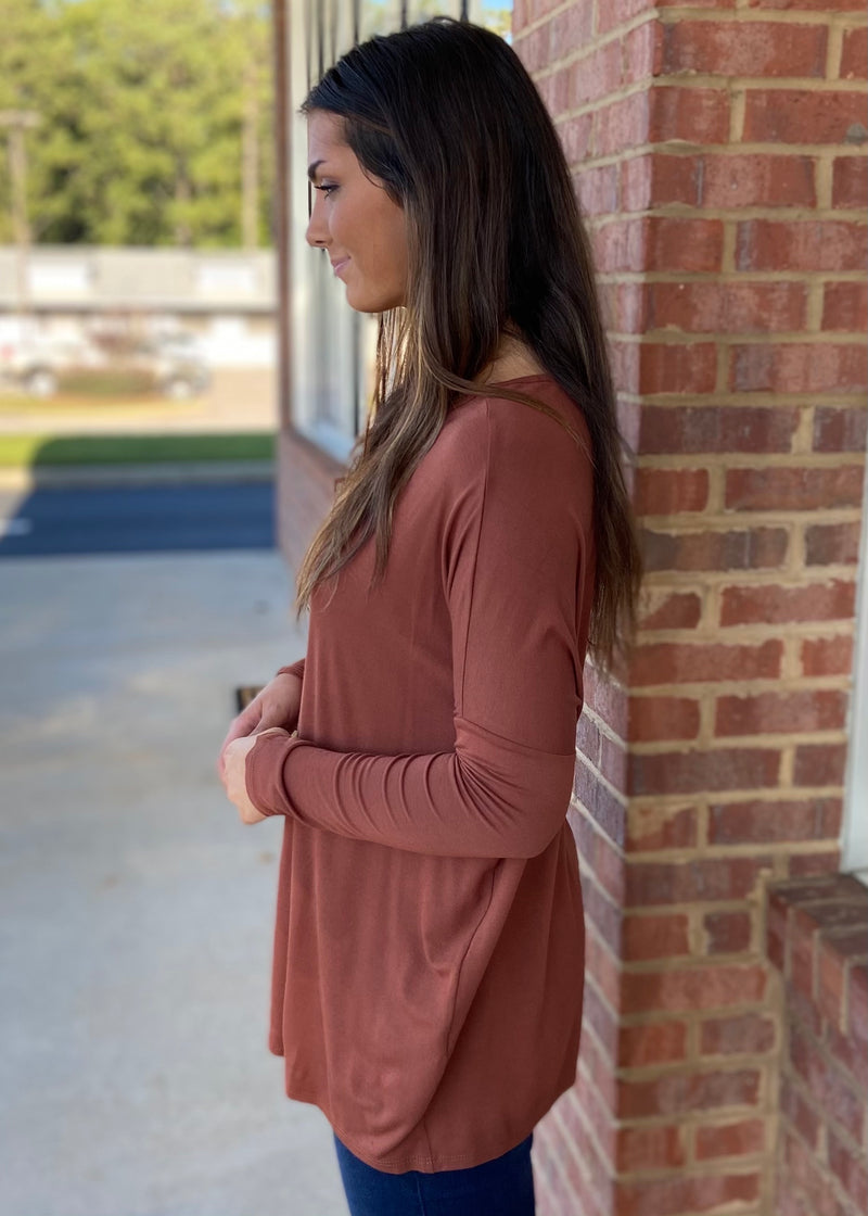Center Of Attention Tobacco Top-Shop-Womens-Boutique-Clothing
