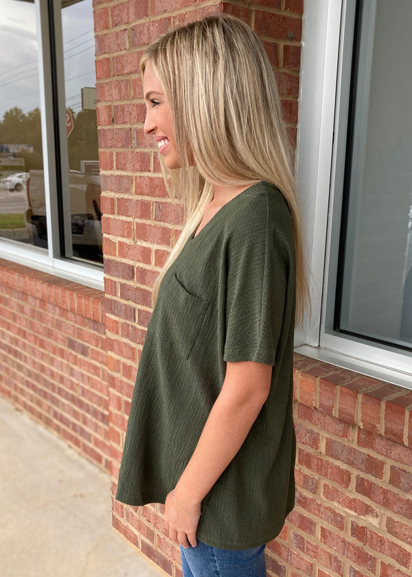 Sincere And Sweet Olive V-Neck Top-Shop-Womens-Boutique-Clothing