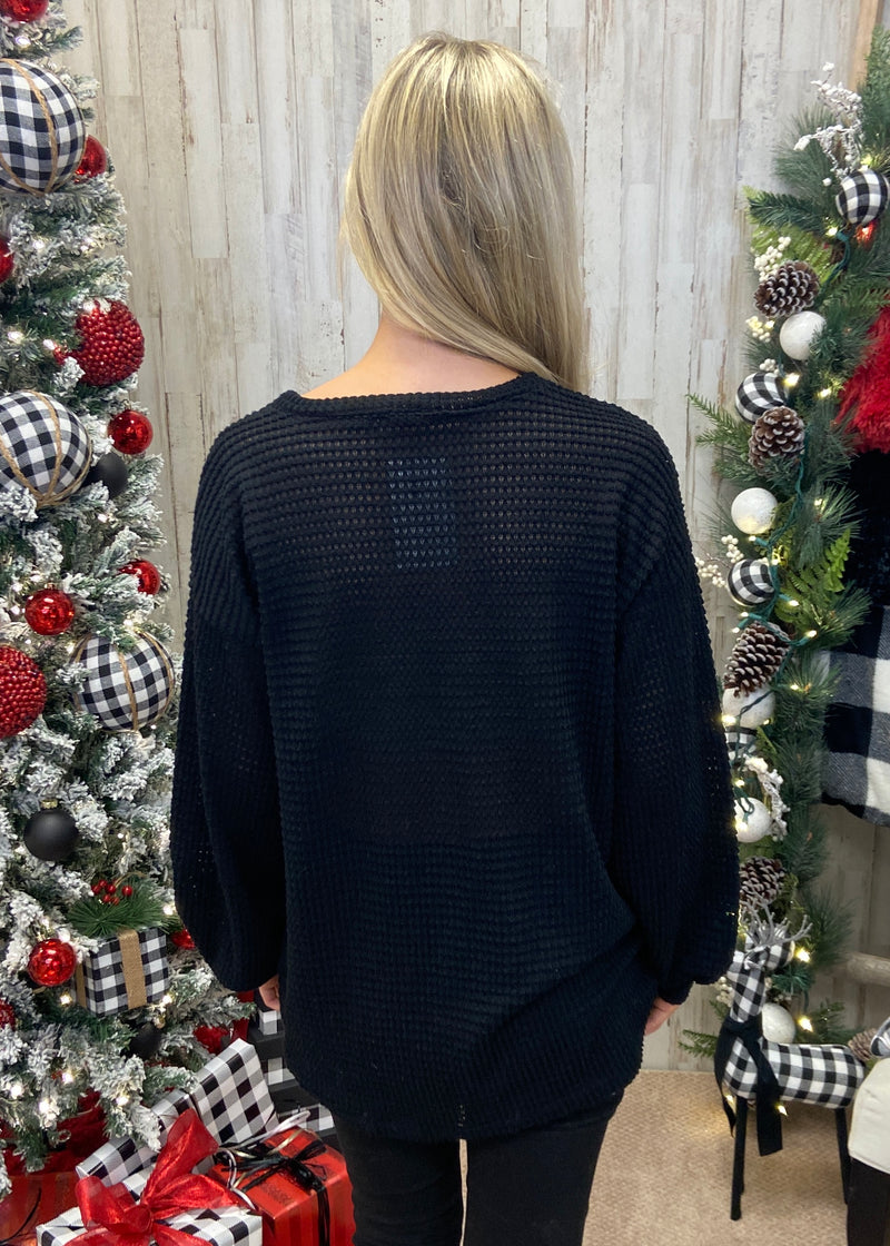 Thinking About Tomorrow Black Waffle Top-Shop-Womens-Boutique-Clothing
