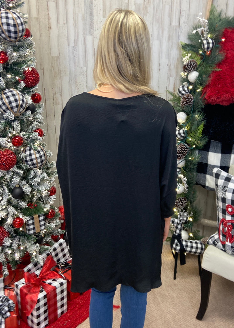 Living Lovely Black V-Neck Top-Shop-Womens-Boutique-Clothing