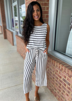 Mandatory Fun Ivory Striped Jumpsuit-Shop-Womens-Boutique-Clothing