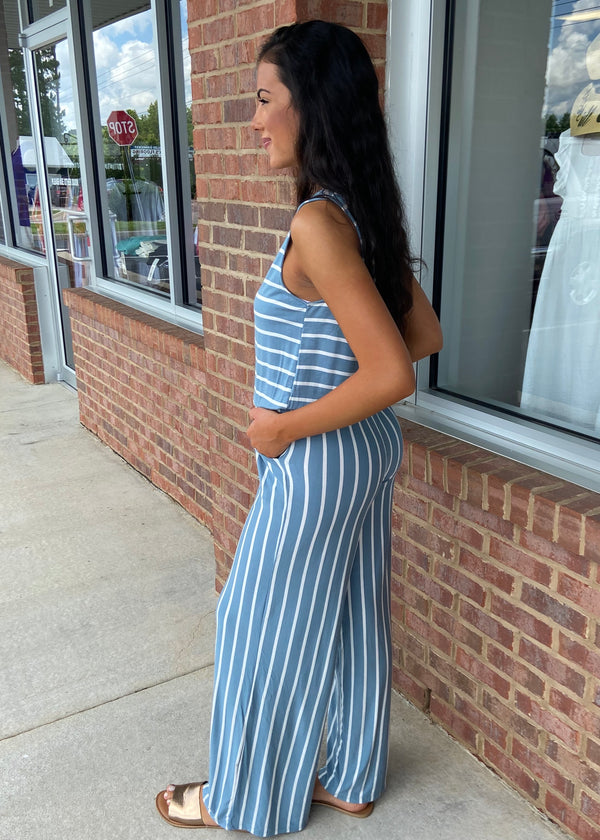Roaming Free Blue Gray Striped Jumpsuit-Shop-Womens-Boutique-Clothing