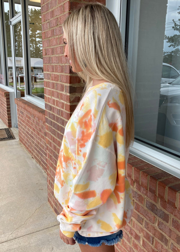 Sunny Spirit Yellow Tie Dye Sweatshirt-Shop-Womens-Boutique-Clothing